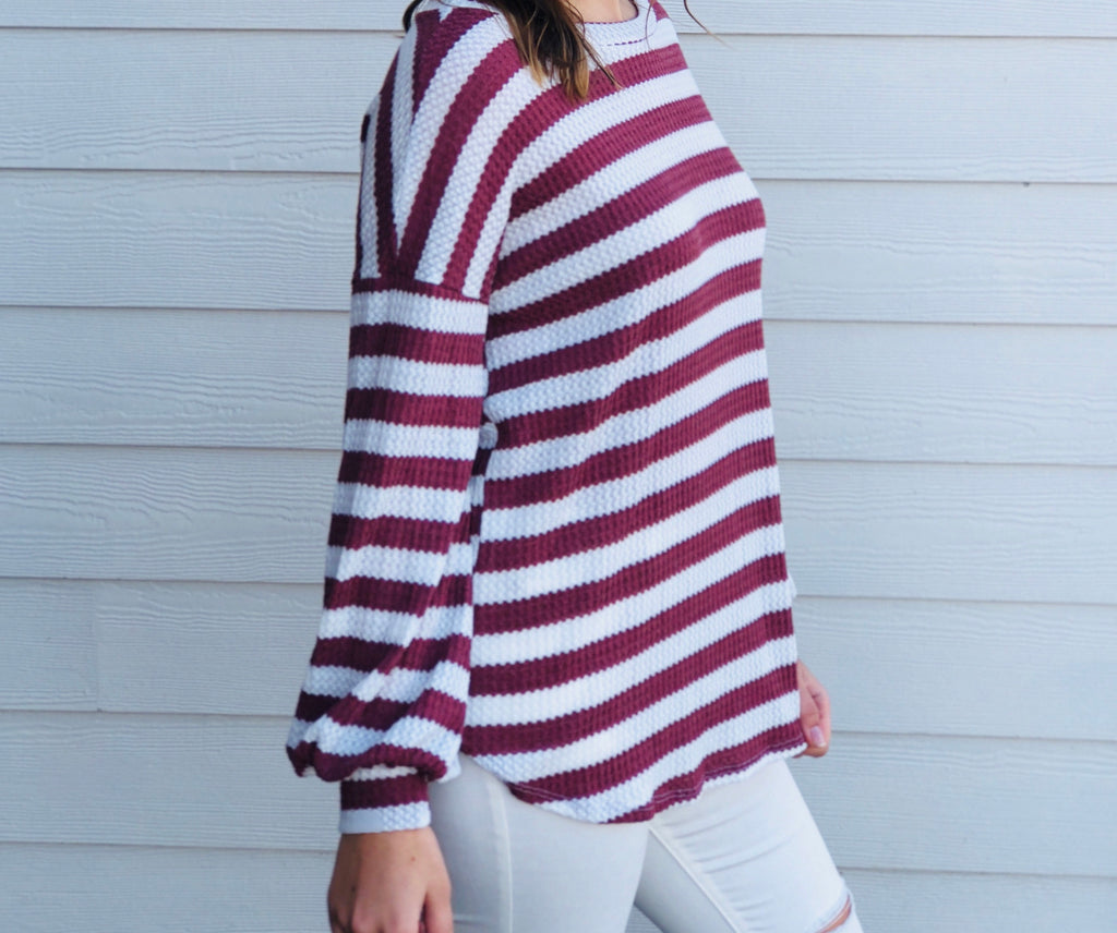 Waffle Knit Thermal - Rust Stripes