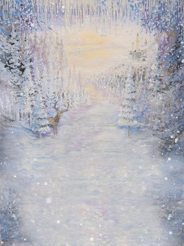 Kate Frozen Forest Deer Winter Painting Backdrop For Children Christmas Photography