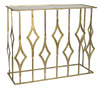 CONSOLE WITH GLASS SHELVES BRASS COATED