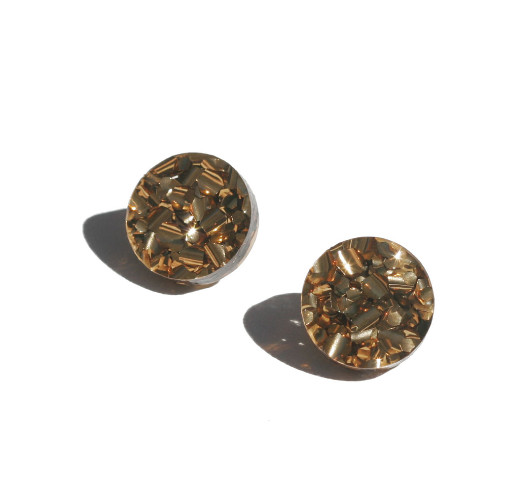 Circle Stud Earrings - Bronze