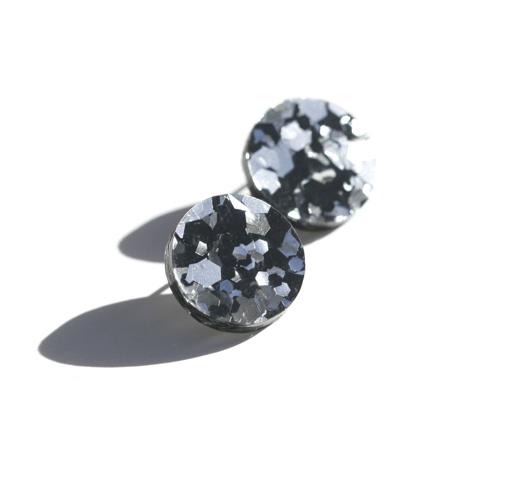 Circle Stud Earrings - Black Silver