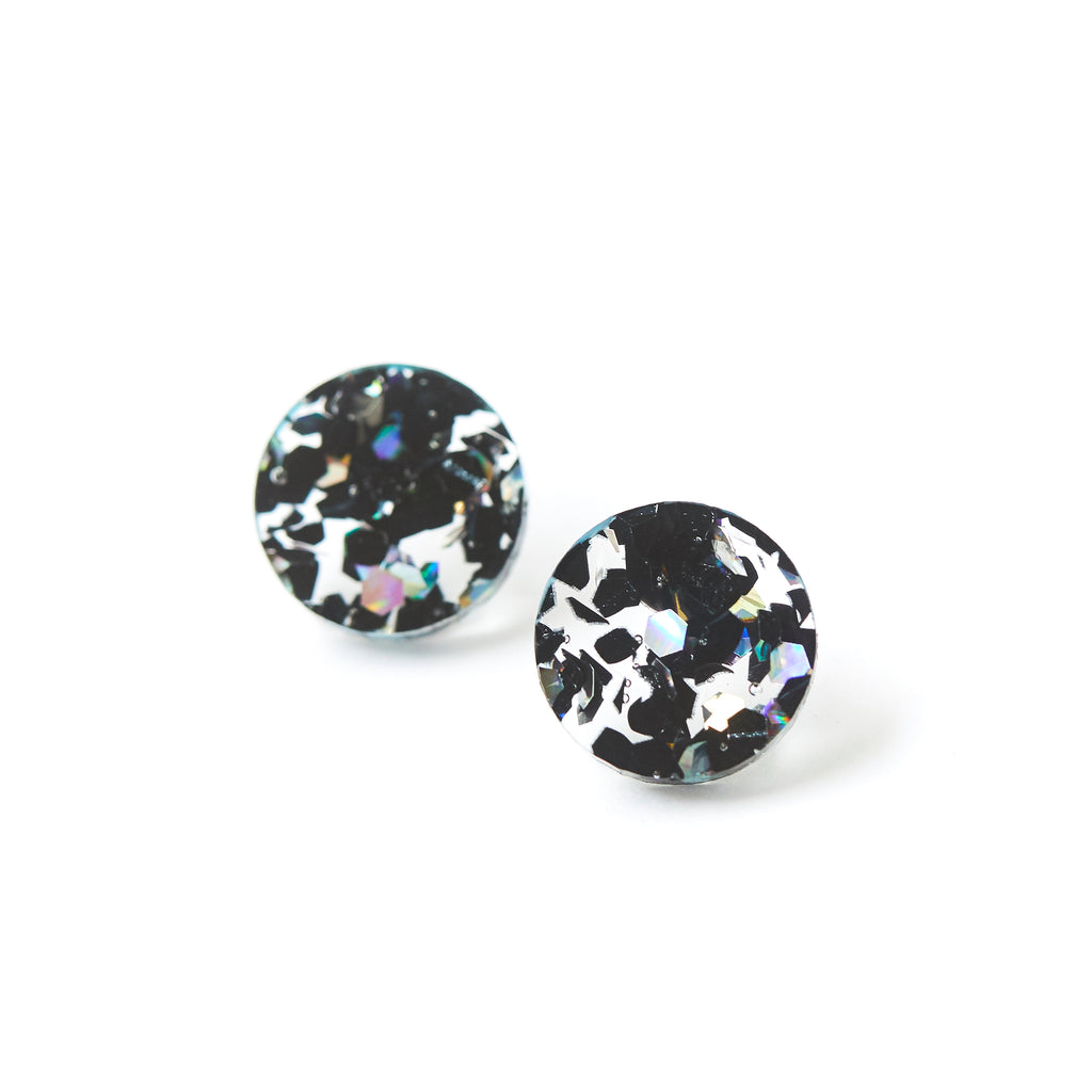 Circle Stud Earrings - Black Cosmos
