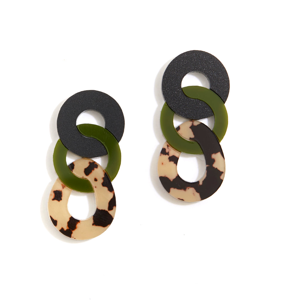 Braid Earrings - Olive / Leopard Light