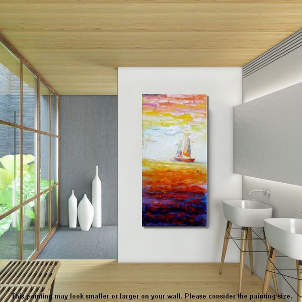 Abstract Art, Sailing Boat at Sea, Heavy Texture Art, Original Painting - artworkcanvas
