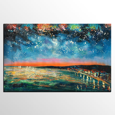 Starry Night Oil Painting, Original Wall Art, Landscape Painting, Large Canvas Art
