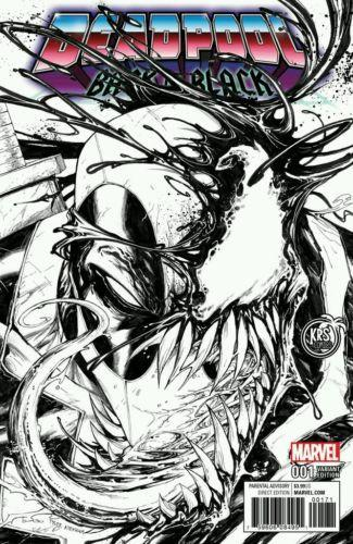 DEADPOOL BACK IN BLACK #1 TYLER KIRKHAM B/W VARIANT COVER