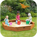 PLUM Giant Octagonal Wooden Sandpit Outdoor Play- Bounce and Swing