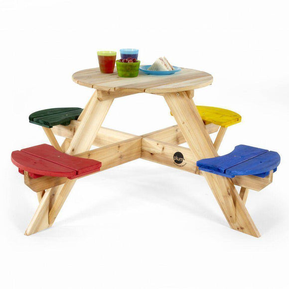 Plum® Circular Picnic Table with coloured seats NEW