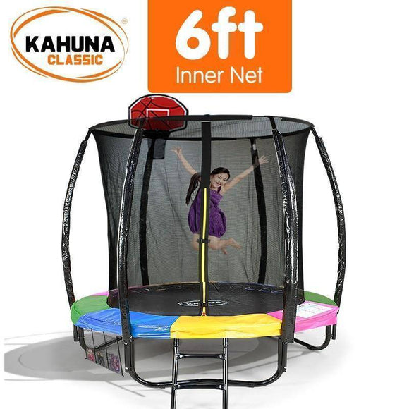 KAHUNA Trampoline 6FT With Basketball Set Rainbow Trampolines- Bounce and Swing
