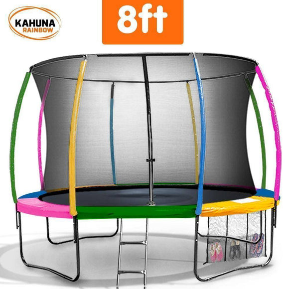 KAHUNA Trampoline 8FT Rainbow Trampolines- Bounce and Swing