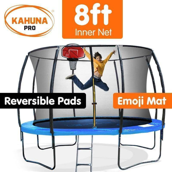 KAHUNA Trampoline PRO 8FT REVERSIBLE PAD, EMOJI MAT and BASKETBALL SET Trampolines- Bounce and Swing