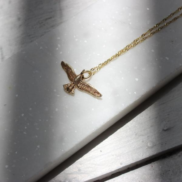 Vintage 14k Gold Flying Bird Pendant