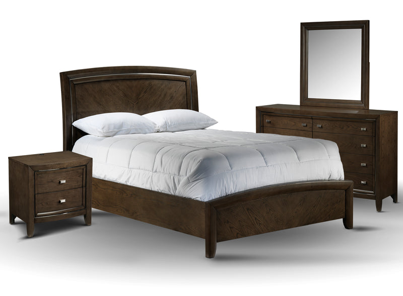 Aberdeen 5-Piece Sleigh Panel Qeen Bed Set with 2-Drawer Night Stand - Barista Oak