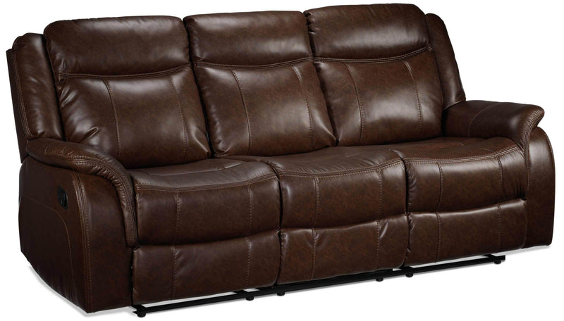 Scorpio Reclining Sofa with Drop Tray - Whiskey Brown