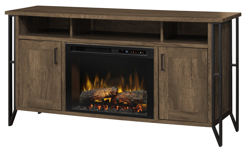 Tyson Media Console Electric Fireplace - Chestnut