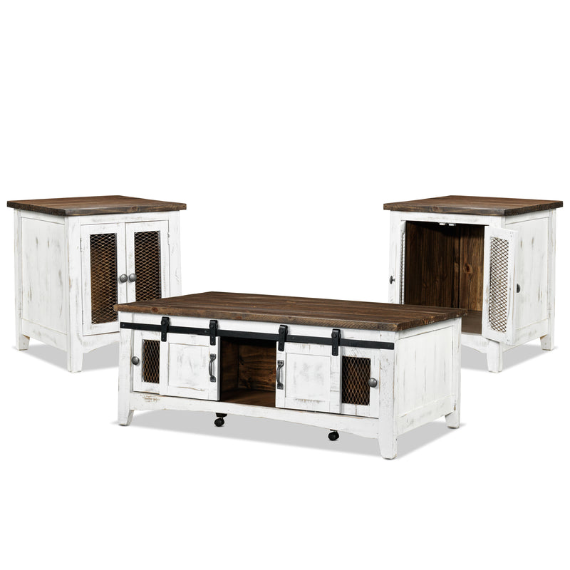 Coffee Table Sets Leons: Pueblo Coffee Table And Two End Table Set - White