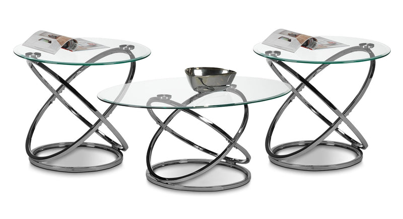 Axis Coffee Table and Two End Tables - Chrome