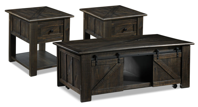 Gable Coffee Table and Two End Tables - Weathered Charcoal