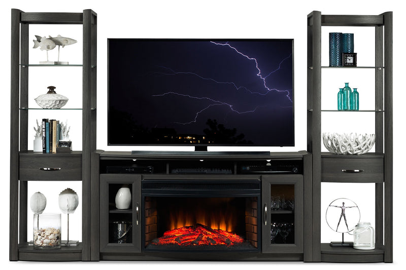 Gallagher 4-Piece Fireplace Entertainment Wall Unit - Grey