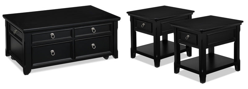 Turner Coffee Table and Two End Tables - Black