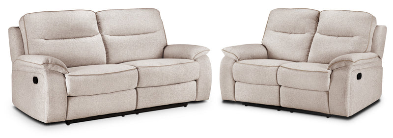Latham Reclining Sofa and Reclining Loveseat Set - Bisque