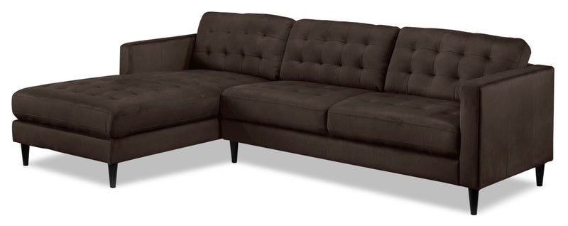 Paragon 2-Piece Sectional with Left-Facing Chaise - Dark Chocolate