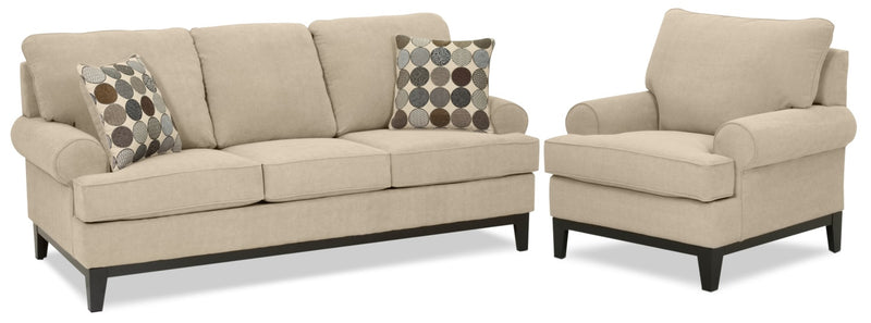 Crizia Sofa and Chair Set - Mocha