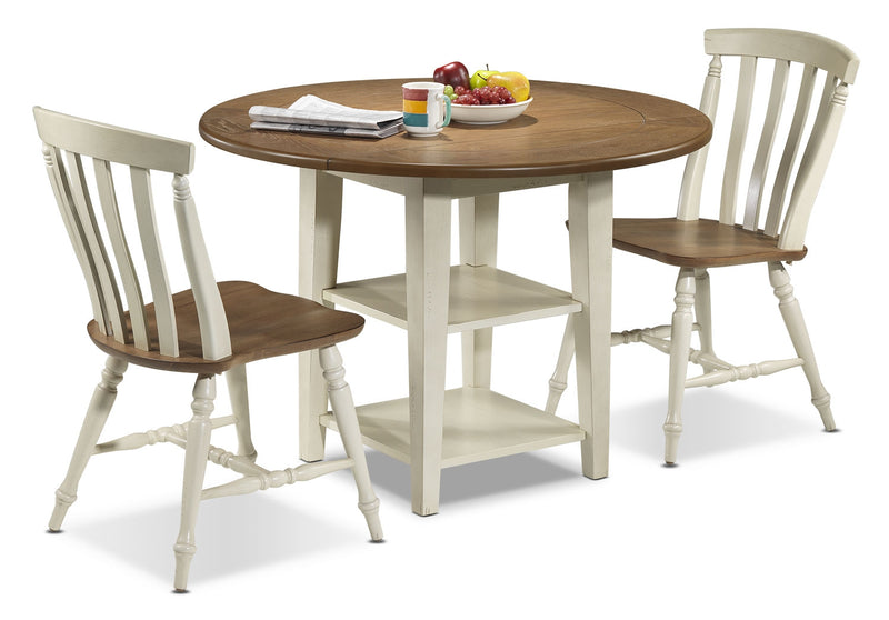 Fresco 3-Piece Dinette Set - Driftwood and Cream