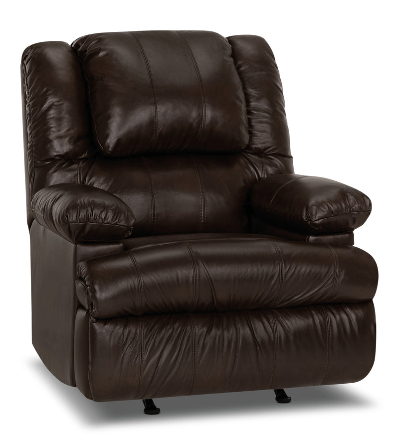 Designed2B 5598 Genuine Leather Power Massage Recliner with Storage Arm - Columbus Chocolate|Fauteuil massage inclinaison électrique 5598 Design à mon image cuir accoudoirs rangement - chocolat