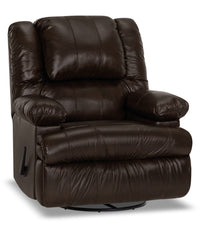 Designed2B 5598 Genuine Leather Swivel Recliner with Storage Arms - Columbus Chocolate