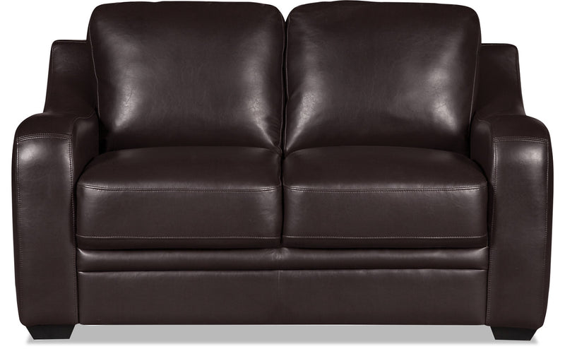 Benson Leather-Look Fabric Loveseat - Dark Brown|Causeuse Benson en tissu d'apparence cuir - brun foncé
