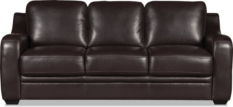 Benson Leather-Look Fabric Sofa - Dark Brown|Sofa Benson en tissu d'apparence cuir - brun foncé