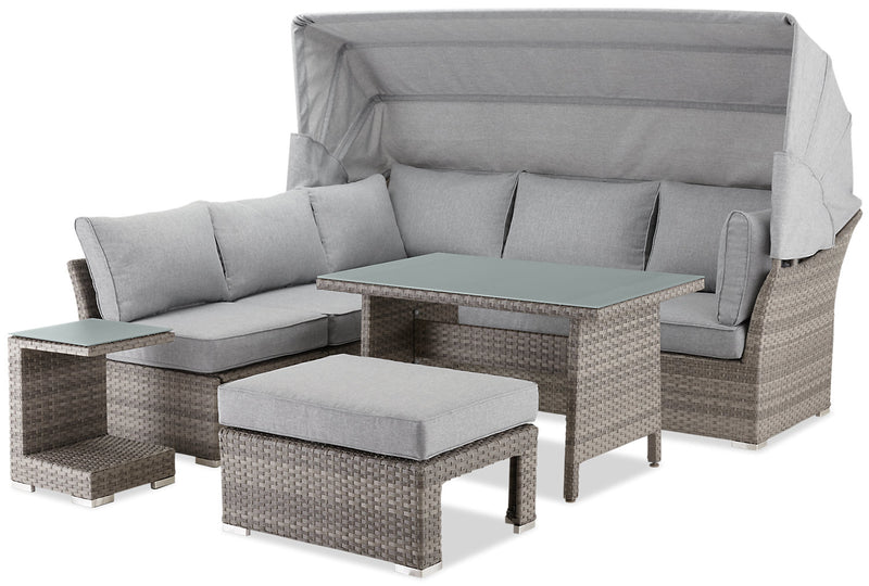 Bermuda 6-Piece Modular Sectional Package with Sunshade|Ensemble sofa sectionnel modulaire Bermuda 6 pièces avec parasol