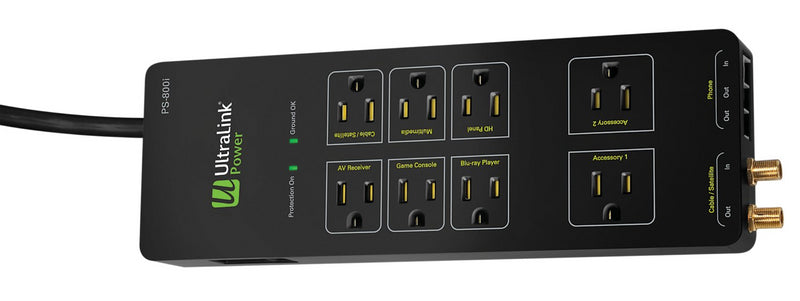 UltraLink Power PS-800i  8-Outlet Power Bar with 3,750 J Surge Protection|Multiprise Power PS-800i UltraLinkMD à 8 prise avec protection contre les surtensions