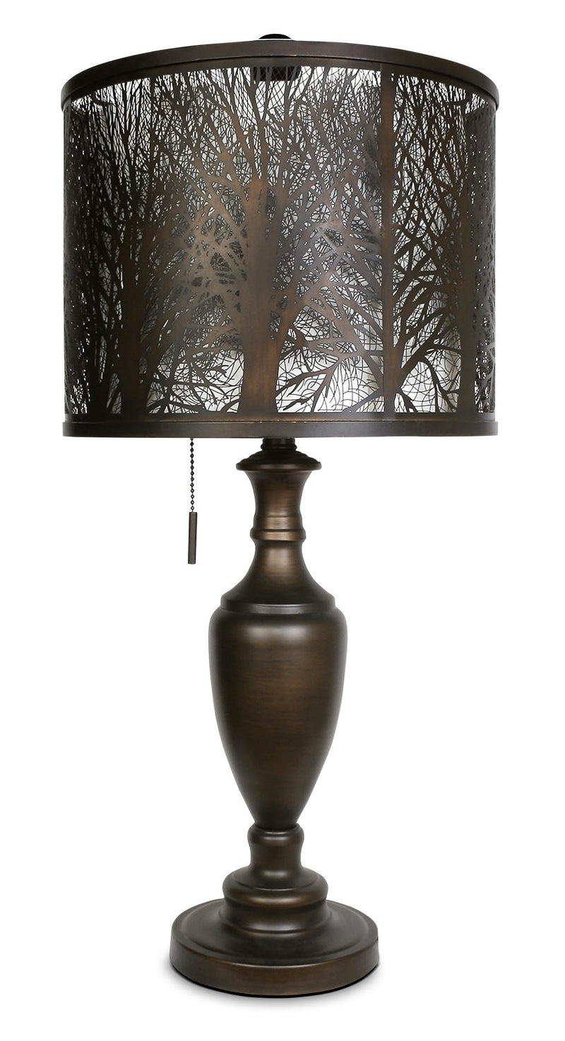 Bean Bronze Table Lamp with Cut-Out Shade|Lampe de table bronze haricot avec abat-jour orné de découpes