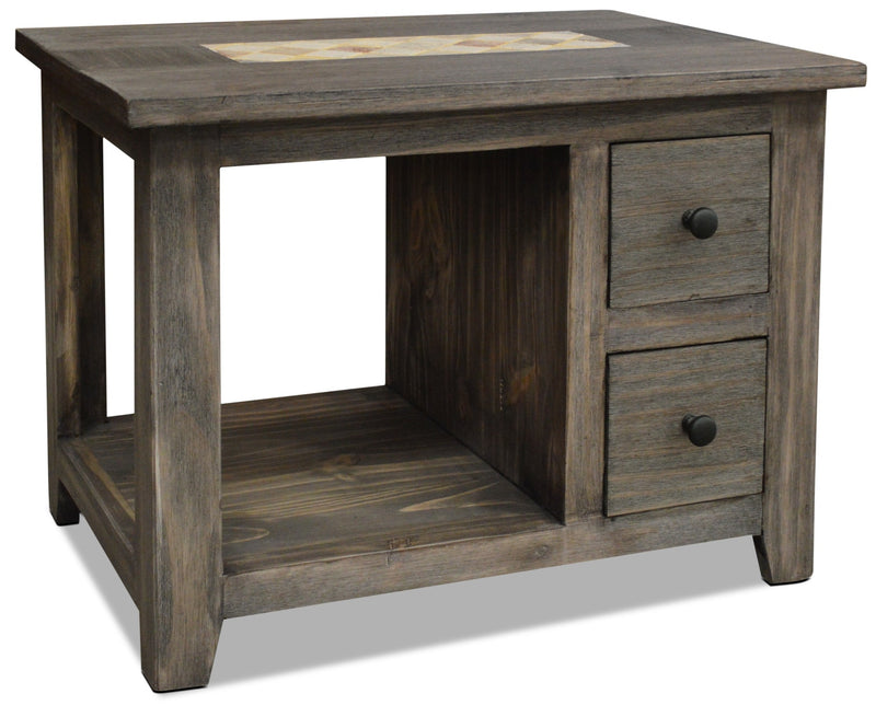 Santa Fe Rusticos Solid Pine End Table with Marble Inset – Grey|Table de bout Santa Fe Rusticos en pin massif avec incrustations de marbre - grise