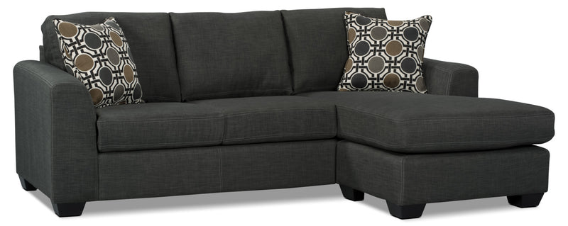 Exceptionnel Nina 2 Piece Linen Look Fabric Sectional U2013 Grey|Sofa Sectionnel Nina 2