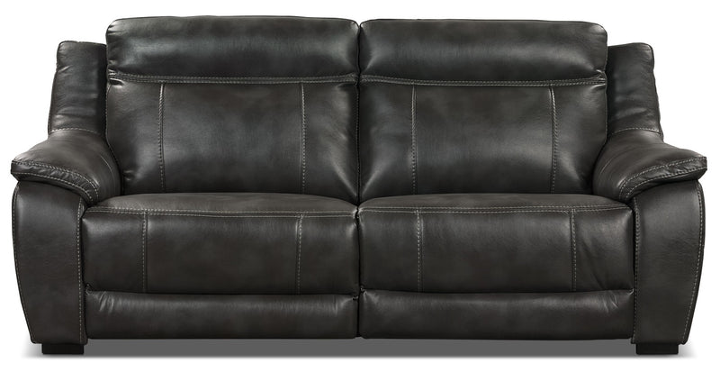 Novo Leather-Look Fabric Sofa – Grey|Sofa Novo en tissu d'apparence cuir - gris
