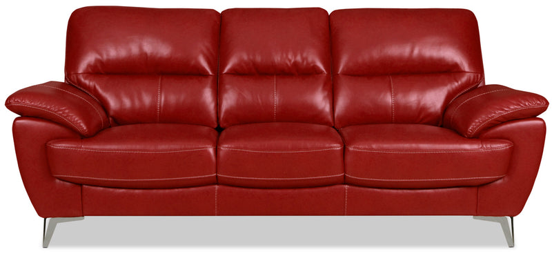 Olivia Leather-Look Fabric Sofa – Red|Sofa Olivia en tissu d'apparence cuir - rouge