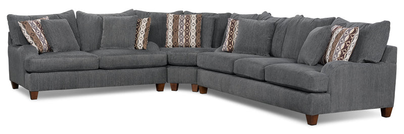 Putty Chenille 3-Piece Sectional - Grey|Sofa sectionnel Putty 3 pièces en chenille – gris