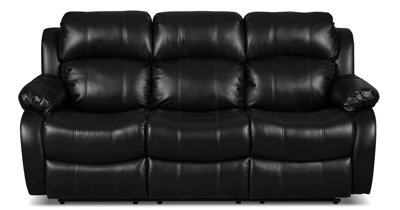Omega Leather-Look Fabric Reclining Sofa – Black|Sofa inclinable Omega en tissu d'apparence cuir - noir