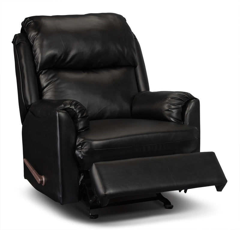 Drogba Faux Leather Recliner - Black|Fauteuil inclinable Drogba en similicuir - noir