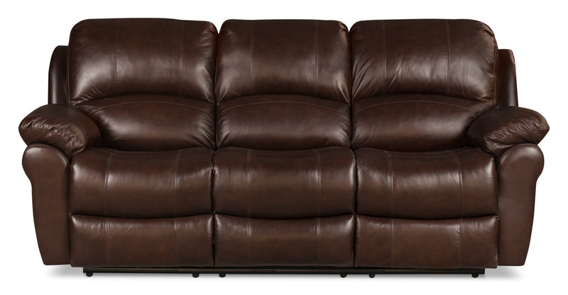 Kobe Genuine Leather Reclining Sofa – Brown|Sofa inclinable Kobe en cuir véritable - brun