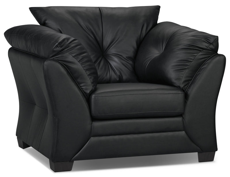 Max Faux Leather Chair - Black|Fauteuil Max en similicuir - noir