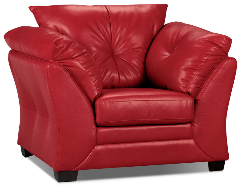 Max Faux Leather Chair - Red|Fauteuil Max en similicuir - rouge