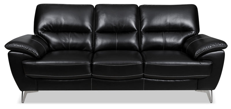 Olivia Leather-Look Fabric Sofa – Black|Sofa Olivia en tissu d'apparence cuir - noir