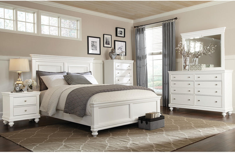 Bridgeport 5-Piece Queen Bedroom Set – White|Ensemble de chambre à coucher Bridgeport 5 pièces avec grand lit - blanc