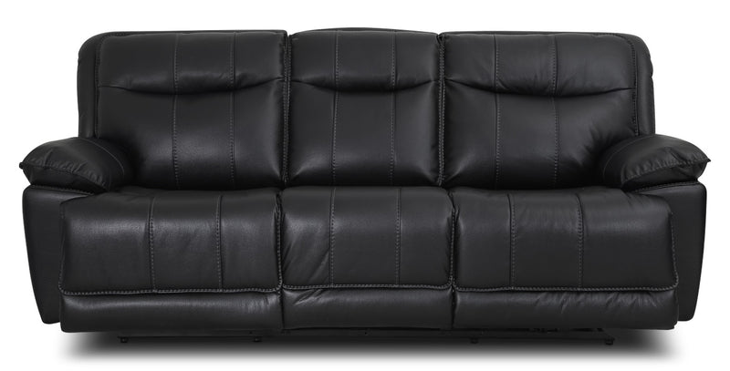 Matt Leather-Look Fabric Reclining Sofa – Black|Sofa inclinable Matt en tissu apparence cuir - noir