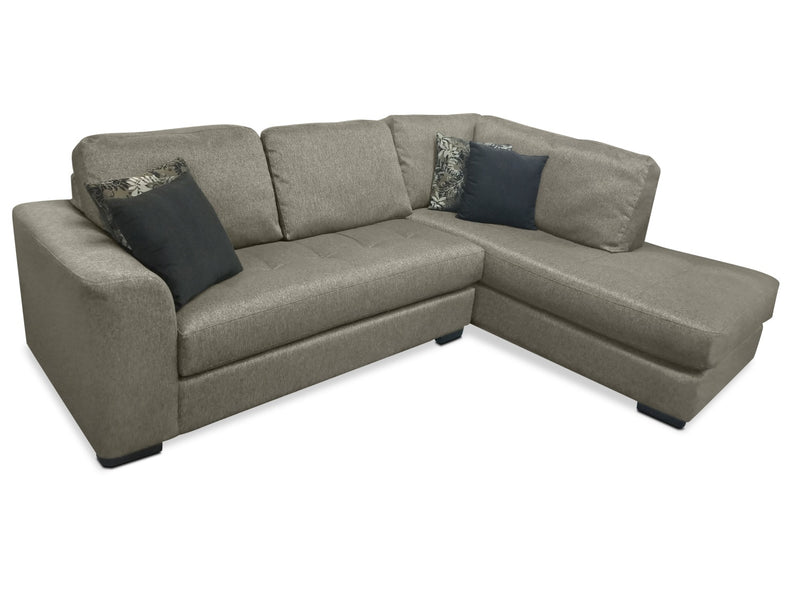 Alta 2-Piece Chenille Right-Facing Sectional – Grey|Sofa sectionnel de droite Alta 2 pièces en chenille - gris