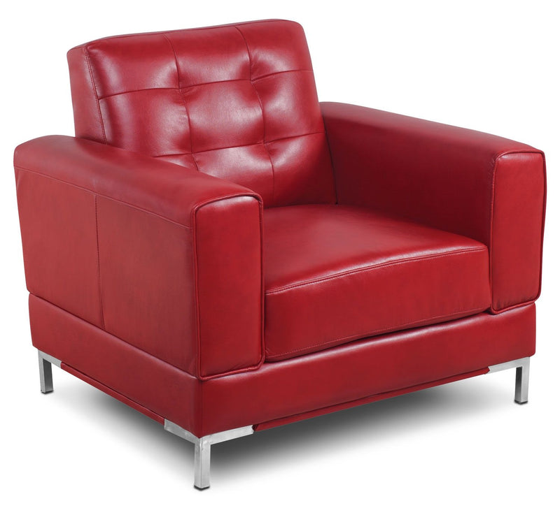 Myer Leather-Look Fabric Chair - Red|Fauteuil Myer en tissu d'apparence cuir - rouge